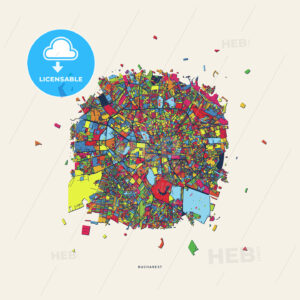 Bucharest Romania colorful confetti map - HEBSTREITS