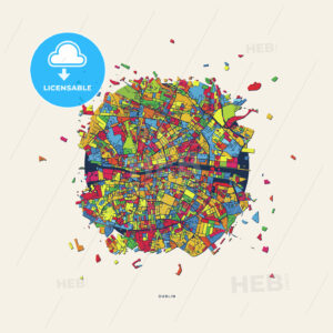 Dublin Ireland colorful confetti map - HEBSTREITS