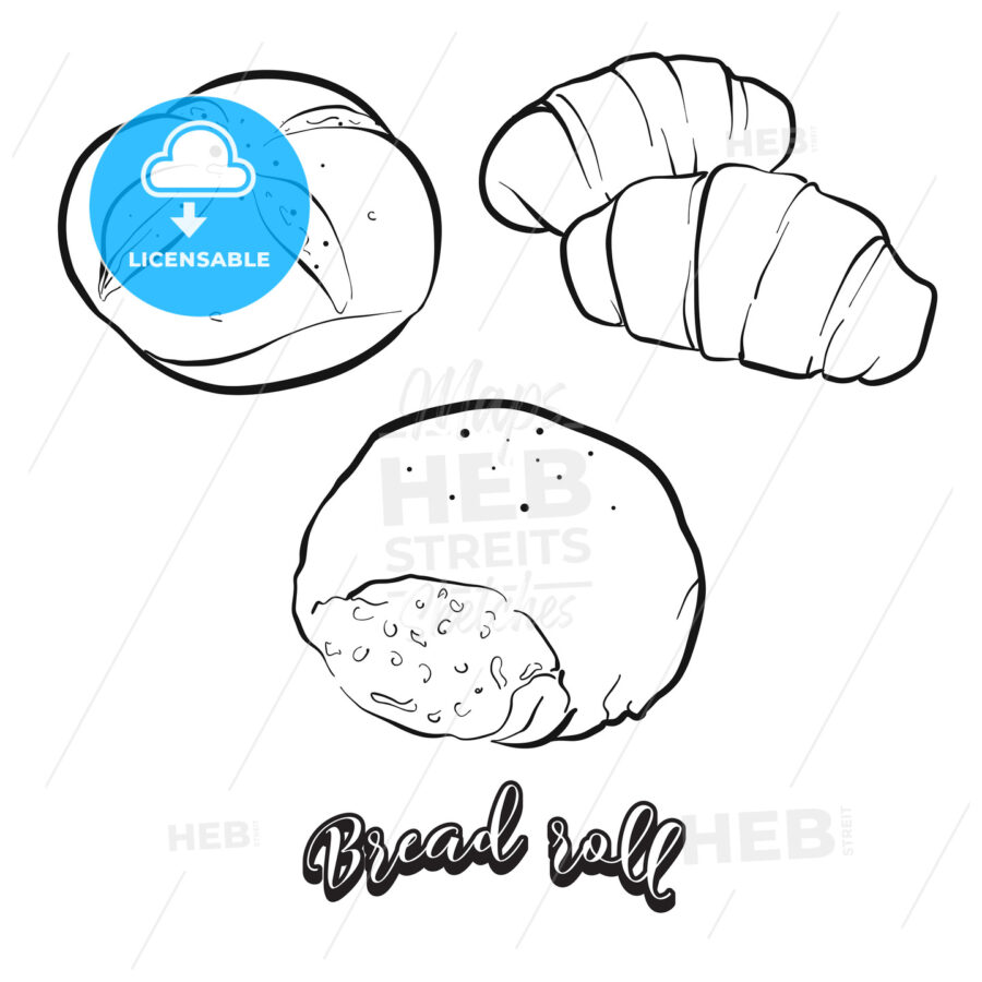 Hand drawn sketch of Bread roll bread - HEBSTREITS