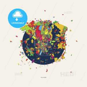 Helsinki Finland colorful confetti map - HEBSTREITS