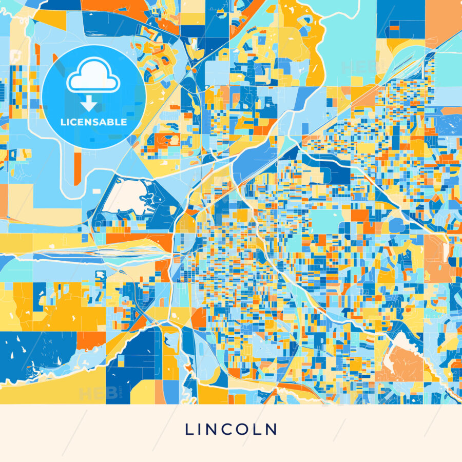 Lincoln colorful map poster template - HEBSTREITS