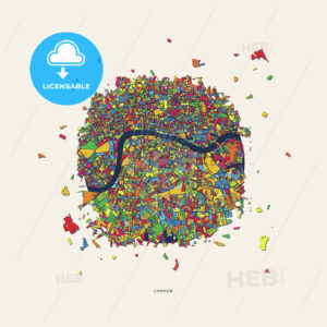 London United Kingdom colorful confetti map - HEBSTREITS
