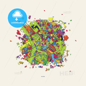 Minsk Belarus colorful confetti map - HEBSTREITS