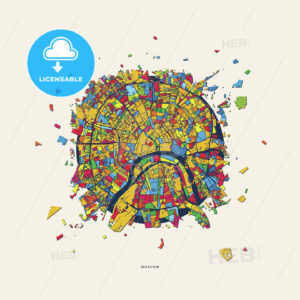 Moscow Russia colorful confetti map - HEBSTREITS
