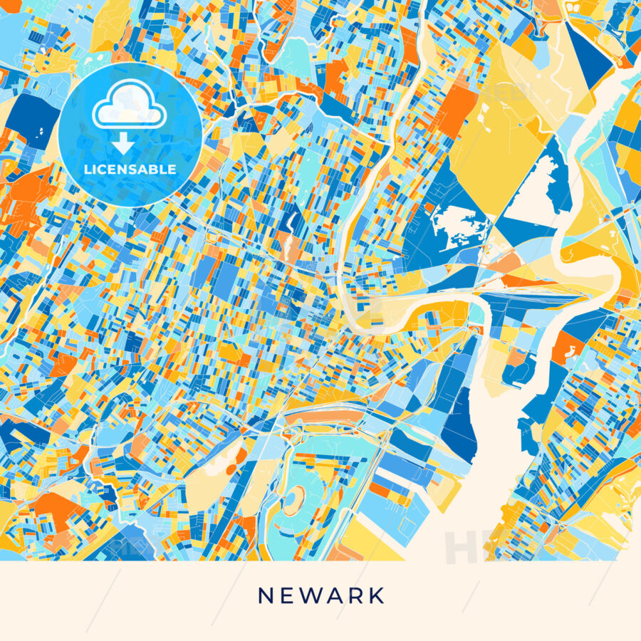 Newark colorful map poster template - HEBSTREITS