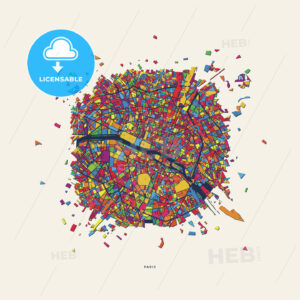 Paris France colorful confetti map - HEBSTREITS