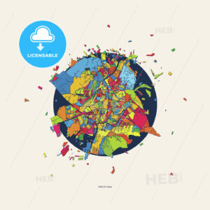 Pristina Kosovo colorful confetti map - HEBSTREITS