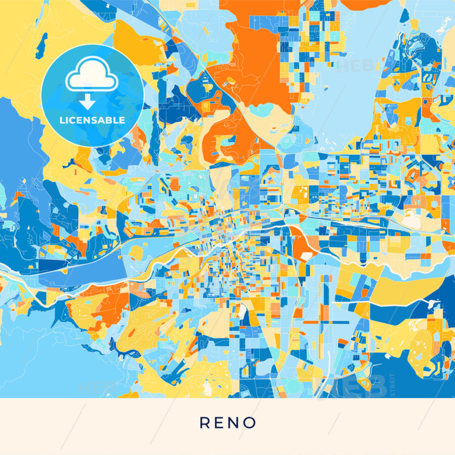 Reno colorful map poster template - HEBSTREITS