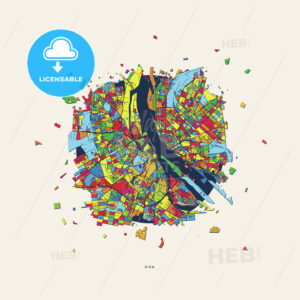 Riga Latvia colorful confetti map - HEBSTREITS