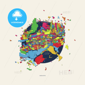 Sarajevo Bosnia and Herzegovina colorful confetti map - HEBSTREITS