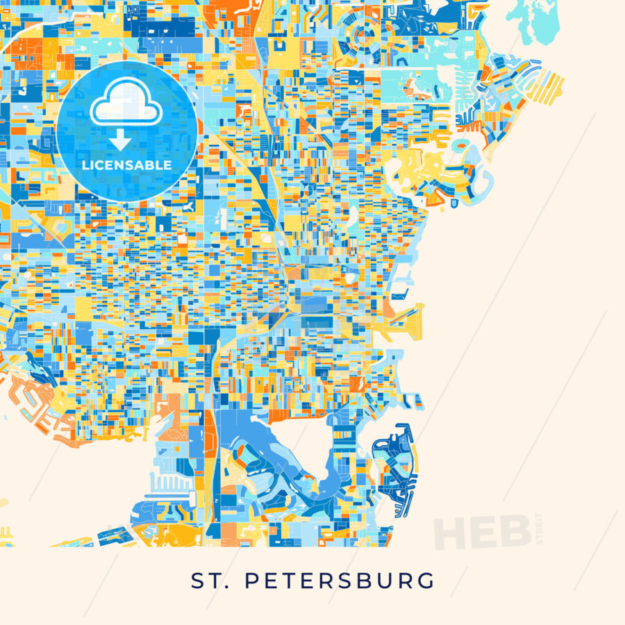 St. Petersburg colorful map poster template - HEBSTREITS