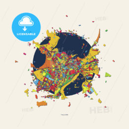 Tallinn Estonia colorful confetti map