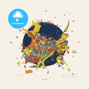 Tallinn Estonia colorful confetti map - HEBSTREITS