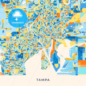 Tampa colorful map poster template - HEBSTREITS