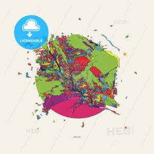 Tbilisi Georgia colorful confetti map - HEBSTREITS