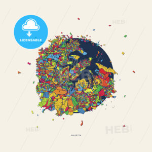 Valletta Malta colorful confetti map - HEBSTREITS