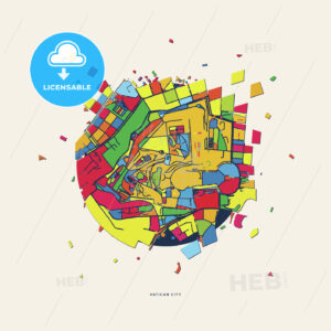 Vatican City Vatican City (Holy See) colorful confetti map - HEBSTREITS