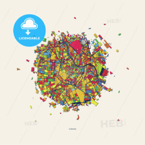 Vienna Austria colorful confetti map - HEBSTREITS
