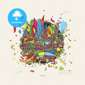 Zagreb Croatia colorful confetti map - HEBSTREITS