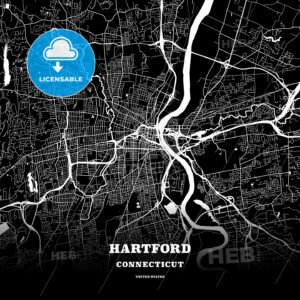 Black map poster template of Hartford, Connecticut - HEBSTREITS