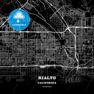 Black map poster template of Rialto, California - HEBSTREITS