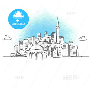 City skyline with historic mosque - HEBSTREITS
