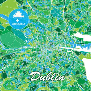 Colorful Dublin Map - HEBSTREITS