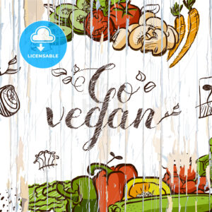 Go vegan vintage food illustration - HEBSTREITS
