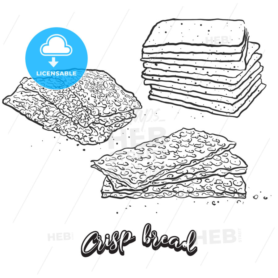 Hand drawn sketch of Crisp bread bread - HEBSTREITS