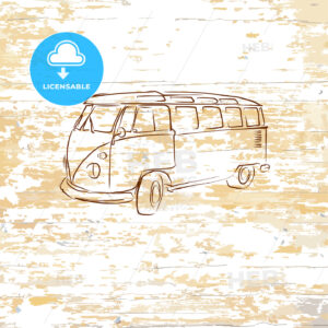 Vintage bus drawing on wooden background - HEBSTREITS