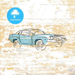 Vintage car drawing on wooden background - HEBSTREITS