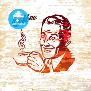 Vintage coffee men icon on wooden background - HEBSTREITS