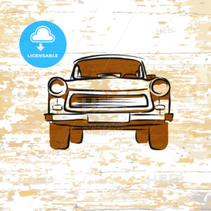 Vintage german car icon on wooden background - HEBSTREITS