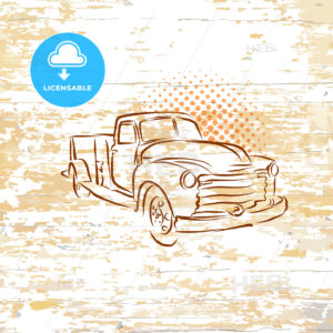 Vintage pickup truck on wooden background - HEBSTREITS