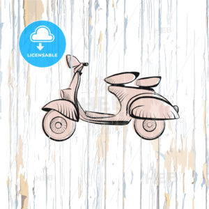 Vintage scooter drawing on wooden background - HEBSTREITS