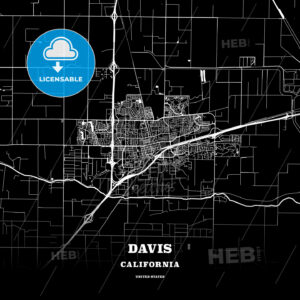 Black map poster template of Davis, California, USA - HEBSTREITS