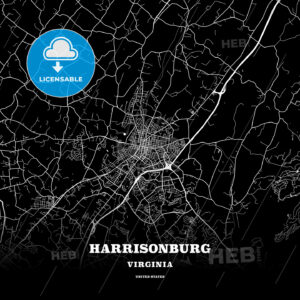 Black map poster template of Harrisonburg, Virginia, USA - HEBSTREITS