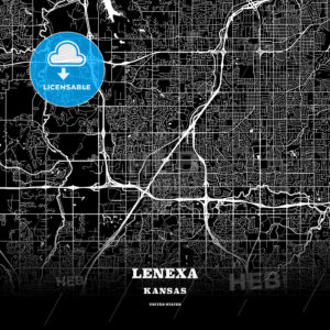 Black map poster template of Lenexa, Kansas, USA - HEBSTREITS