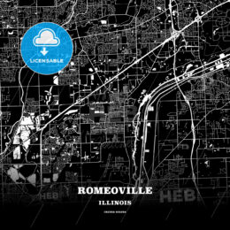 Black map poster template of Romeoville, Illinois, USA