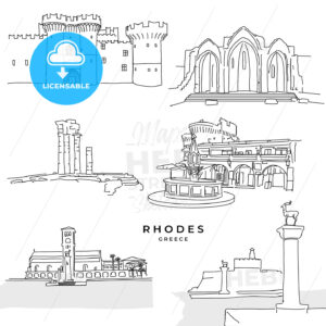 Rhodes Greece landmarks drawings - HEBSTREITS
