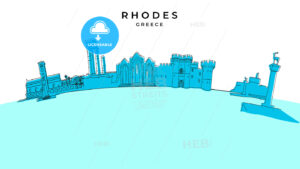 Rhodes Greece panorama. Hand-drawn vector illustration - HEBSTREITS