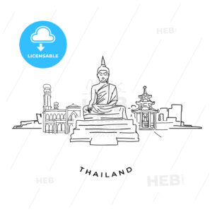 Thailand buddha and landmarks drawing - HEBSTREITS