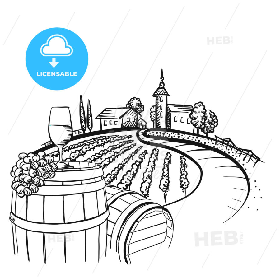 Vineyard barrel and glass drawing - HEBSTREITS