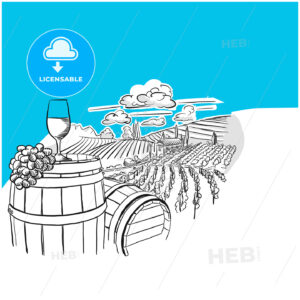 Vineyard landscape with glass drawing - HEBSTREITS