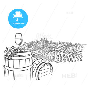 vineyard landscape with glass illustration - HEBSTREITS