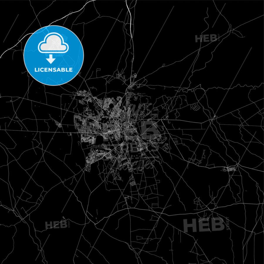 Dark area map of Marrakech, Morocco - HEBSTREITS