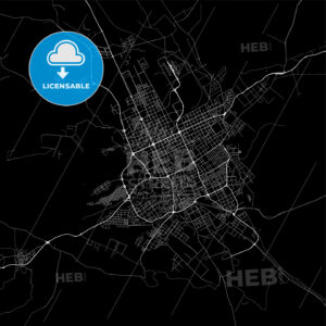 Dark area map of Riyadh, Saudi Arabia - HEBSTREITS