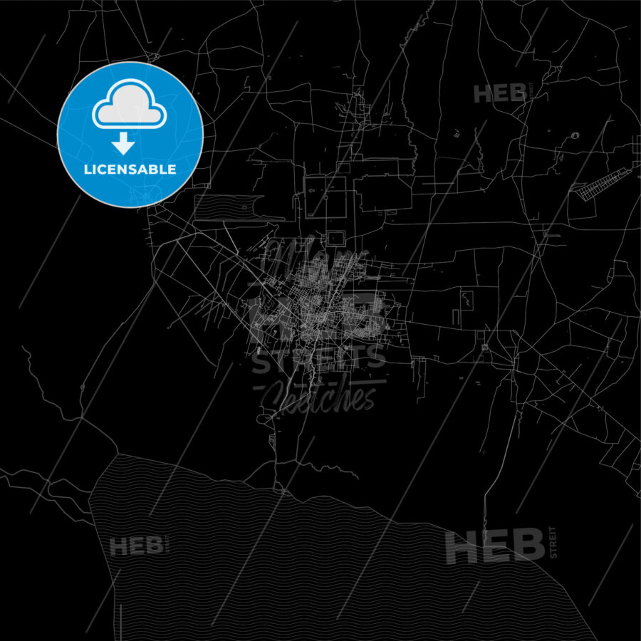 Dark area map of Siem Reap, Cambodia - HEBSTREITS