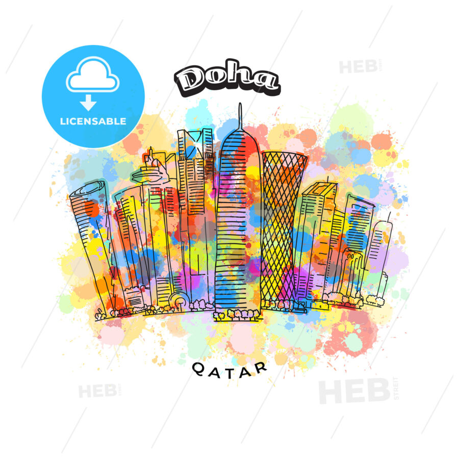 Doha Qatar colorful skyline - HEBSTREITS