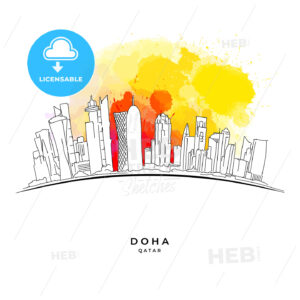 Doha Qatar skyline on colorful background - HEBSTREITS